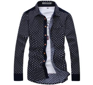批发男装衬衫 秋冬新款灯芯绒男士长袖衬衫 圆点点修身长袖衬衣男