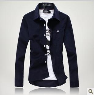批发男士衬衫 秋冬爆款韩版衬衫 男士修身长袖衬衣灯芯绒长袖衬衫