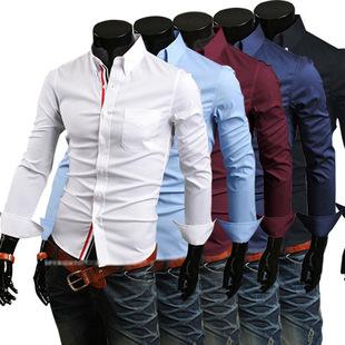 外贸款男式衬衫 批发男士长袖衬衫 大码修身长袖衬衣 纯色衬衫男