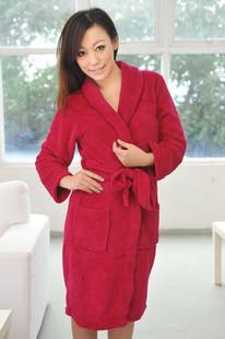 2014淘宝爆款 红色珊瑚睡袍,四季睡袍,睡袍