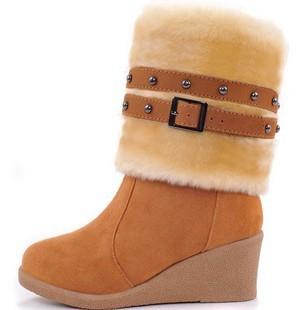 2013款雪地靴批发 女鞋新品磨砂坡跟女靴牛筋底高筒靴女短靴两穿