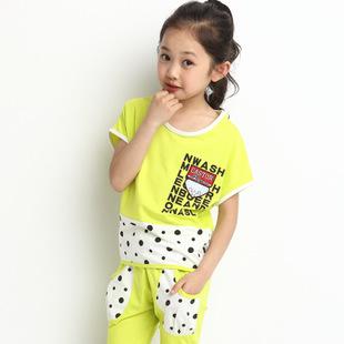 2014新款韩版童套装 女童夏装圆点蝙蝠衫中大童儿童套装童装代发