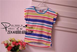 外贸原单 女童 T恤衫 短袖衫 条纹 棉小衫 半袖  儿童 童T 韩版