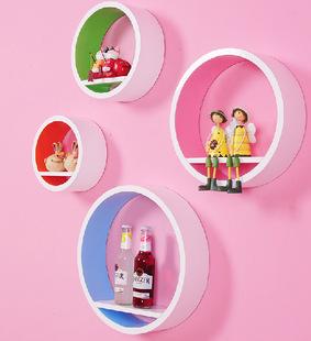 壁挂壁柜置物架亮光烤漆圆环创意墙格子电视背景墙上装饰架隔搁板