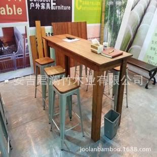 户外竹木桌子/户外桌子/浅碳色户外桌子