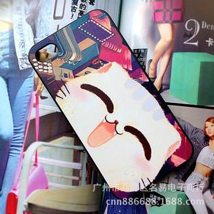 卡通彩绘笑脸眯眼猫 iphone5s4s磨砂手感手机保护壳
