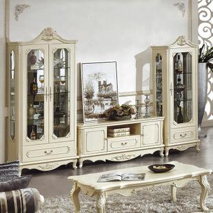欧式风格 雕花描金 客厅家具 组合电视柜 组合酒柜909图片