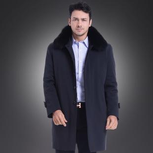 傲斯德尼新款男棉衣水貂领男士皮草大衣外套可脱卸獭兔毛内胆