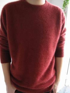 现货新款男圆领V领貂绒衫男士貂绒衫百搭貂绒毛衣羊绒衫特价