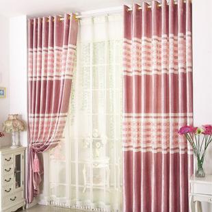 高档毛巾绒绣花遮光窗帘布客厅卧室简约欧式窗帘布