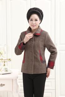 2014年 中老年女装秋装外套 中年妈妈装新款 中老年人羊毛呢外套