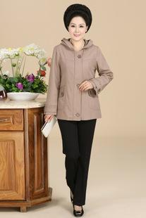 2014年中年女装大码弹力棉外套韩版妈妈装秋装新款中长款带帽风衣