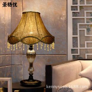 欧式简约复古台灯卧室床头台灯婚庆台灯