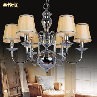 美式经典客厅吊灯现代简约铁艺布艺餐厅吊灯卧室玄关灯吊吸两用型