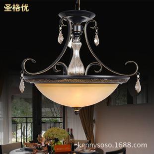 美式卧室餐厅单锅吊灯书房玄关灯欧式简约复古灯饰