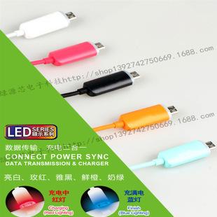 新款 发光数据线 micro LED发光 三星usb传输数据线 充电 批发