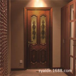 供应 爱地尔实木复合烤漆门欧式实木线条镶铜条玻璃KTV门YM-16