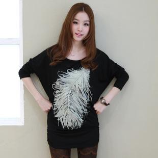 羽毛蝙蝠衫 2014春装新款韩版包臀打底衫 女 长款长袖宽松t恤 潮