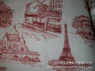 法国风情建筑物类花型转移印花加工