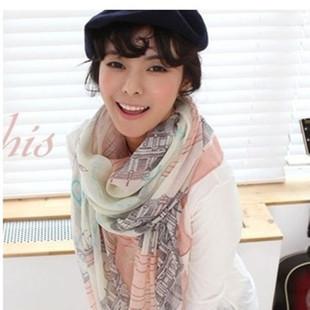 新款韩版围巾 巴黎建筑埃菲尔铁塔图案围巾 秋冬披肩女款围巾批发