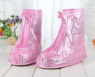 批发供应女士防雨鞋套 格格纹加厚平跟防雨  防水 耐磨防滑鞋套
