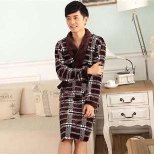 法兰绒睡袍 男士睡袍浴袍 加厚冬季法兰绒睡袍男家居服