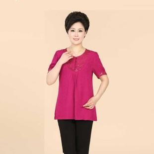2014热卖新款秋季中老年妈妈装休闲舒适拼色圆点口袋长袖连衣裙