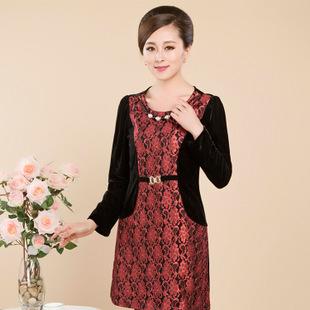 2014秋季新款中老年连衣裙大码韩版修身中老年连衣裙长袖丝绒