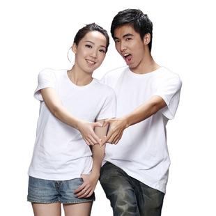圆领女短袖空白t恤 修身半袖女式纯棉纯色白色T恤厂家直销批发