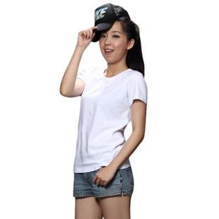 2014春夏男女款圆领短袖空白T恤 精梳棉纯色空白短袖T恤衫批发