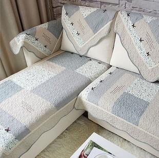 韩式现代简约手工沙发垫坐垫布艺绗缝厚沙发套沙发巾