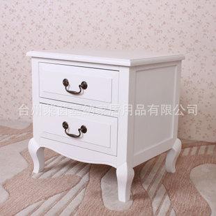 欧式田园白床头柜实木床边柜简约白色床头