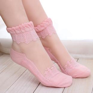萝莉巴洛克软妹蕾丝花边透明水晶丝袜玻璃丝袜短袜子