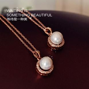 韩国时尚新款 名媛气质高品质圆形母贝珍珠微镶锆石锁骨链小吊坠