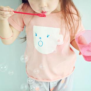 韩版夏款女童t恤 纯棉卡通杯子印花短袖童t恤 夏季童装清仓热卖