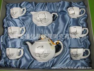 供应茶具工艺品 瓷器茶具工艺品 八头绘金瓷器茶具工艺品