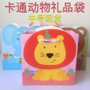 韩版卡通动物纸袋 幼儿园春游袋