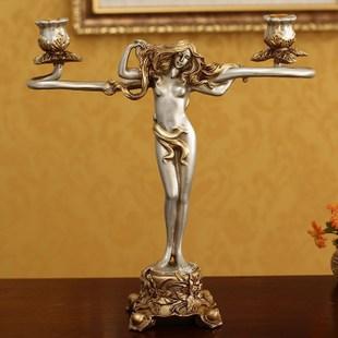 批发欧式古典美女婚庆家居装饰烛台浪漫餐桌复古金色摆件结婚礼物