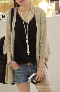 2014秋装新款韩版蝙蝠防晒针织衫空调衫遮阳衫开衫女