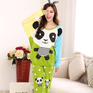 秋装新款少女睡衣 卡通熊猫时尚睡衣 牛 可爱甜美家居服