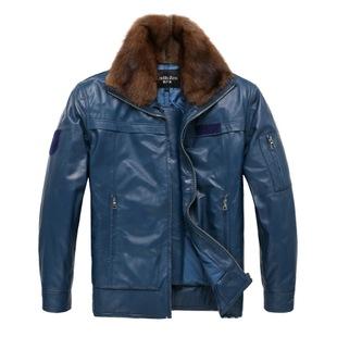 02飞行皮衣冬季男装外套水貂领飞行皮夹克 男式真皮皮衣上衣 蓝色