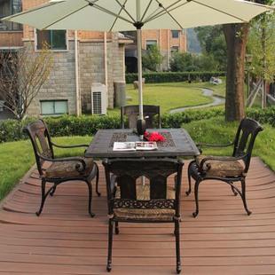欧式户外家具 高档铸铝桌椅五件套