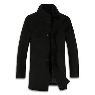 男装新品秋冬外套羊毛羊绒貂领修身时尚男士立领大衣风衣商务外套