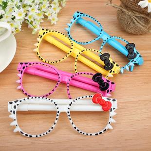 时尚镜框圆珠笔 可爱小猫创意卡通笔礼品笔批发眼镜