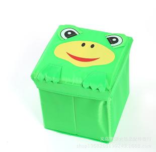 直供正方形储物凳 多功能无纺布折叠收纳凳批发 涤纶小号青蛙款