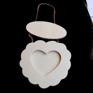 【地中海花边爱心相框】 儿童DIY木质相框 白胚相框 雪花泥相框