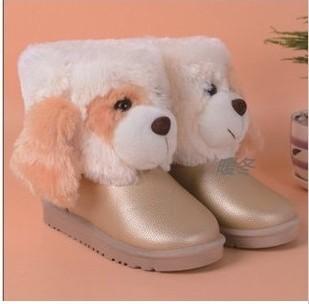 儿童防水雪地靴女童大童男童靴子保暖可爱小狗宝宝鞋