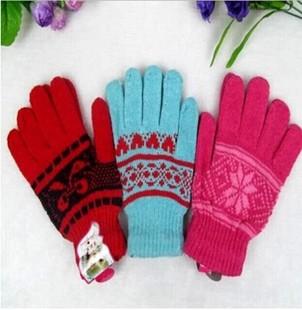 加厚防风防冻手套女士棉线手套五指手套针织手套特价