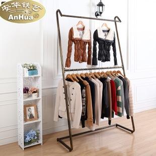 热销 欧式高档 铁艺服装架 双层衣服架 服装展示架 侧