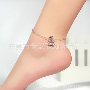 饰品批发脚链小马吊铃铛双层脚链韩版时尚钛钢电18K玫瑰金脚链